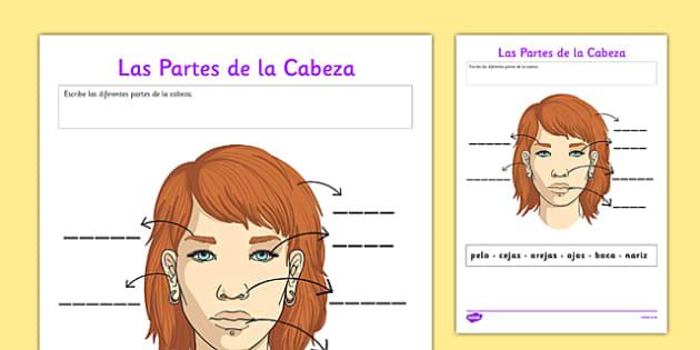 Ficha Las partes de la cara - spanish, parts face, parts body, partes cuerpo, ficha, escribir, cara, face, worksheet