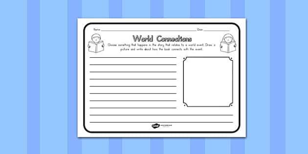 World Connections Comprehension Worksheet - australia, connection