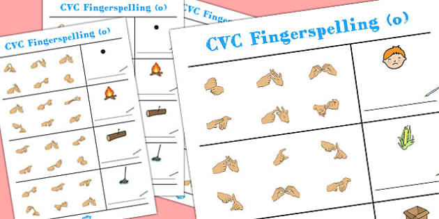 CVC Spelling Worksheets with British Sign Language 'o' - cvc