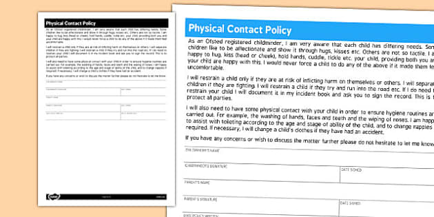 Physical Contact Form for Childminders - childminders, policy
