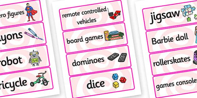 Toys Word Cards - Word cards, Toys, Word Card, flashcard, flashcards, robot, doll, skateboard, games console, dice, jigsaw, games, dominos, marbles, pogo