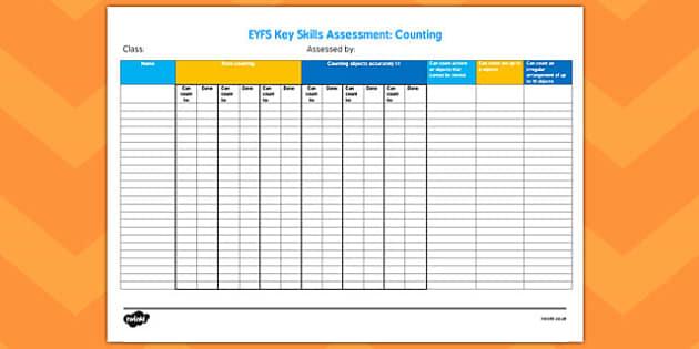 EYFS Key Skills Assessment Counting - eyfs, key skills, assessment