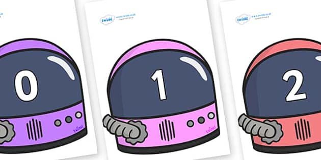 Numbers 0-50 on Astronaut Helmet - 0-50, foundation stage numeracy, Number recognition, Number flashcards, counting, number frieze, Display numbers, number posters