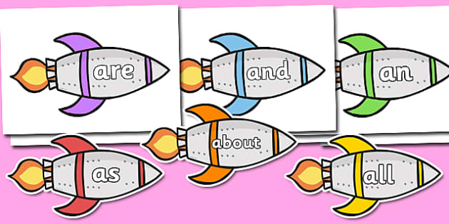 100 High Frequency Words on Rockets - High frequency words, hfw, Rocket, DfES Letters and Sounds, Letters and Sounds, display words, rockets, space