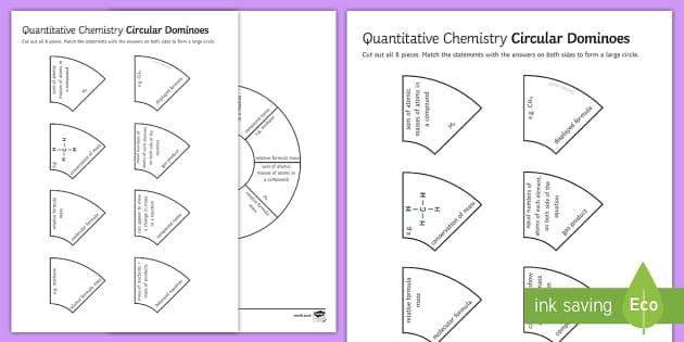 Quantitative Chemistry Tarsia Circular Dominoes - Tarsia, gcse, chemistry, quantitative chemistry, formula, equation, balanced equation, conservation