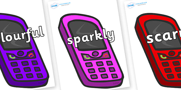 Wow Words on Mobile Phones - Wow words, adjectives, VCOP, describing, Wow, display, poster, wow display, tasty, scary, ugly, beautiful, colourful sharp, bouncy