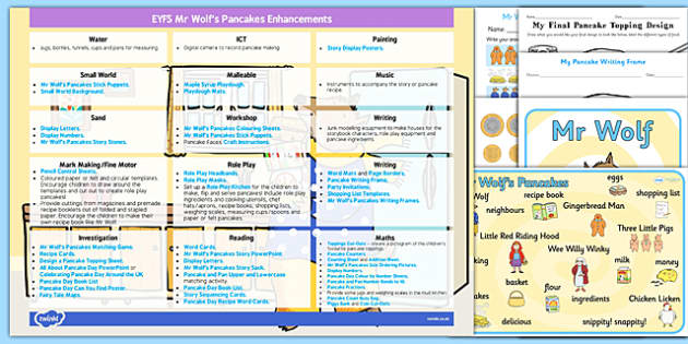 EYFS Enhancement Ideas and Resources Pack to Support Teaching on Mr Wolfs Pancakes - Early Years, continuous provision, early years planning, adult led, Mr Wolf's Pancakes, Jan Fearnley, Pancake Day, Shrove Tuesday