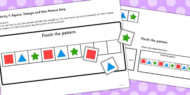 Workstation Pack Shape Pattern Activities Set 2 - teacch