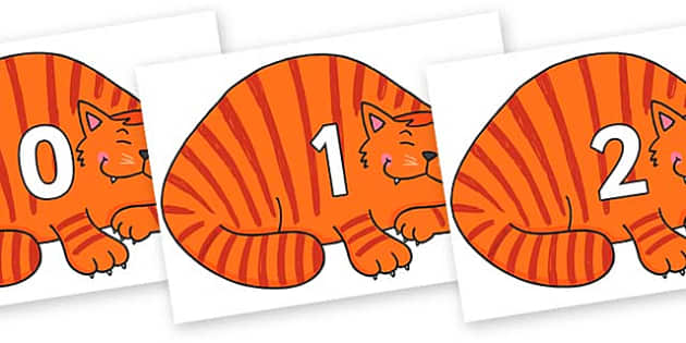 Numbers 0-31 on Hullabaloo Cat to Support Teaching on Farmyard Hullabaloo - 0-31, foundation stage numeracy, Number recognition, Number flashcards, counting, number frieze, Display numbers, number posters