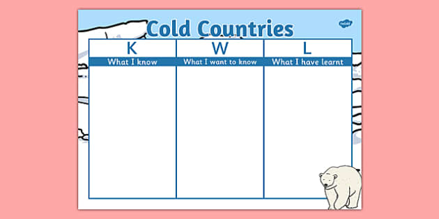 Cold Countries Topic KWL Grid - cold countries, topic, kwl grid, kwl, grid, arctic, polar