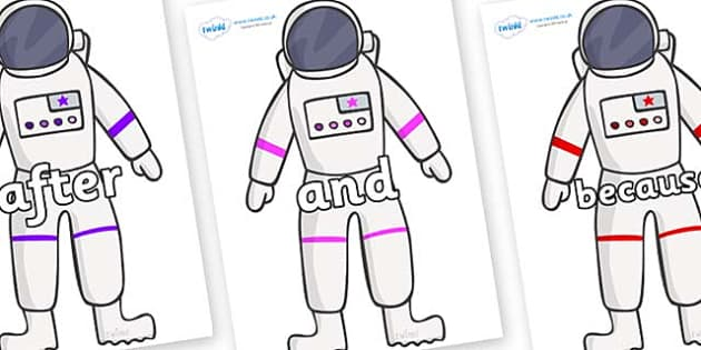 Connectives on Astronaut - Connectives, VCOP, connective resources, connectives display words, connective displays