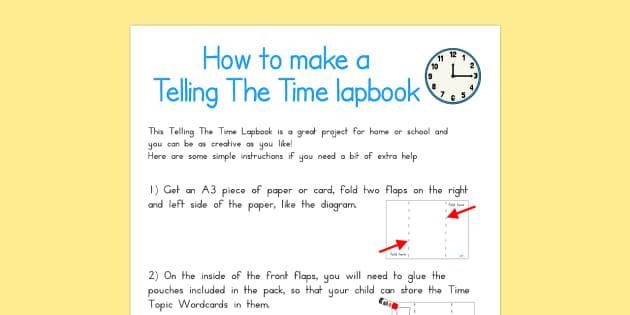 Telling the Time Lapbook Instructions - australia, lapbook, time