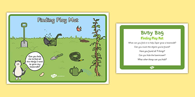 Finding Play Mat Busy Bag Prompt Card and Resource Pack to Support Teaching on Jasper's Beanstalk - beans, growth, growing, plants
