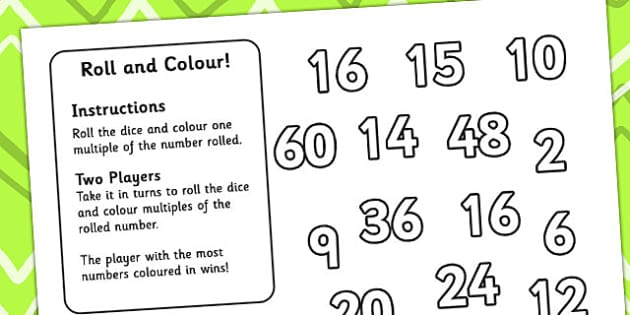 Multiplication Roll and Colour One Dice - roll and colour, number