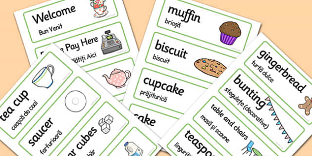 Romanian Translation Tea Shop Role Play Word Cards - arabic