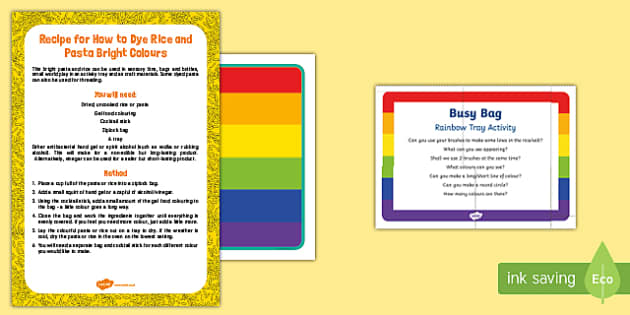 Rainbow Tray Busy Bag Prompt Card and Resource Pack