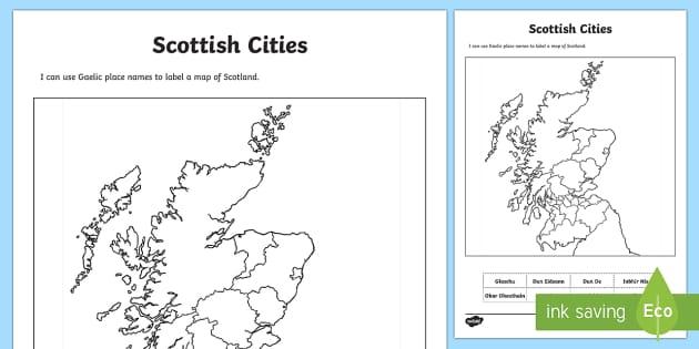 Scottish Cities Location Gaelic Activity Sheet