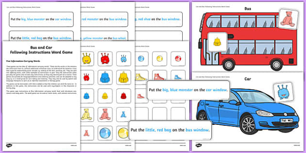 Car and Bus Following Instructions – 5 ICWs Game