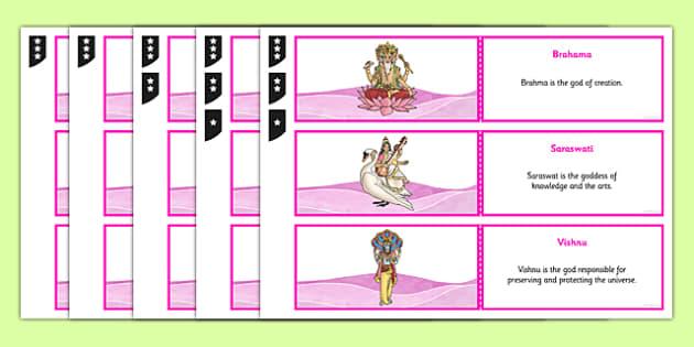 Hinduism Deities Knowledge Testing Cards Differentiated - hinduism, deities, gods, goddesses, worship