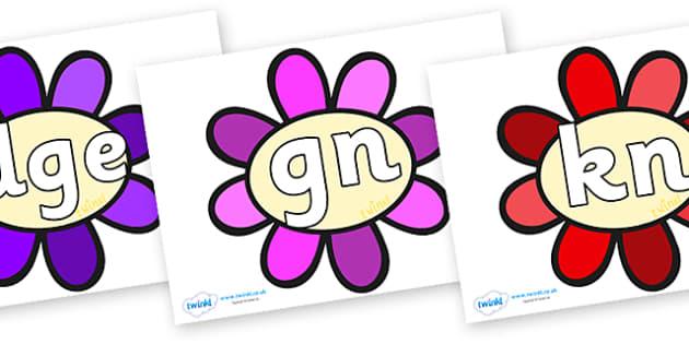 Silent Letters on Flowers - Silent Letters, silent letter, letter blend, consonant, consonants, digraph, trigraph, A-Z letters, literacy, alphabet, letters, alternative sounds