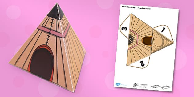 Real Life Object 3D Shapes Triangle Based Pyramid Paper Model