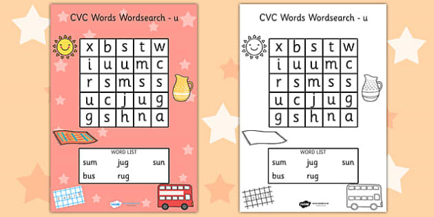 CVC Wordsearch u - word search, word games, find the word, CVC
