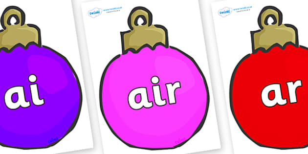 Phase 3 Phonemes on Plain Baubles (Multicolour) - Phonemes, phoneme, Phase 3, Phase three, Foundation, Literacy, Letters and Sounds, DfES, display