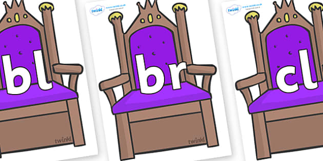 Initial Letter Blends on Thrones - Initial Letters, initial letter, letter blend, letter blends, consonant, consonants, digraph, trigraph, literacy, alphabet, letters, foundation stage literacy