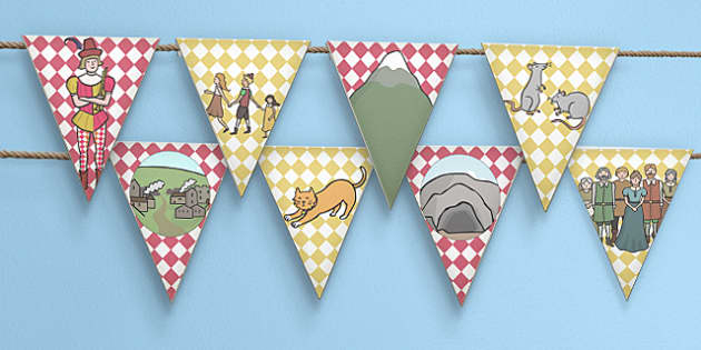 The Pied Piper Bunting - pied piper, bunting, display, class