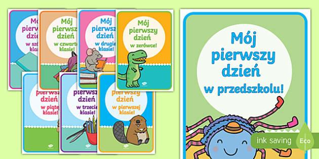 Plakaty Pierwszy dzień w Szkole Podstawowej po polsku