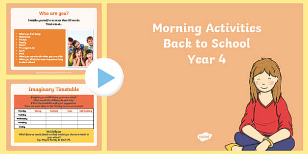 Year 4 Back to School Morning Activities PowerPoint 1 Week