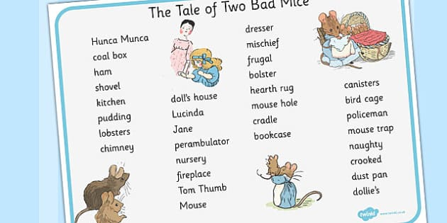 The Tale of Two Bad Mice Word Mat - two bad mice, word mat, mat