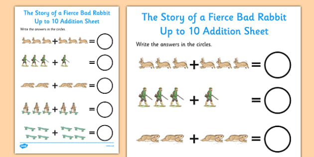 Beatrix Potter - The Story of a Fierce Bad Rabbit Up to 10 Addition Sheet - beatrix potter, fierce, bad, rabbit