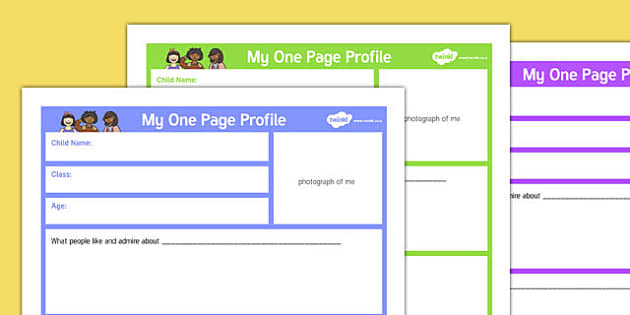 My One Page Profile Parents Primary - my one page, profile, parents, primary