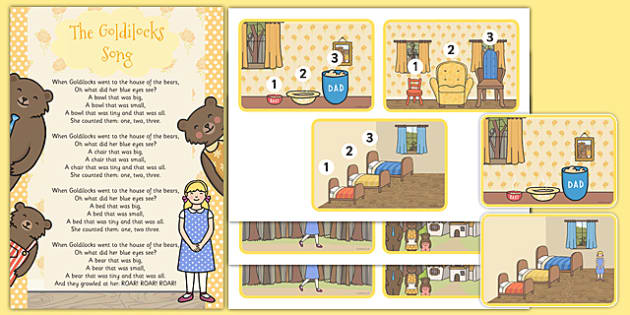 Goldilocks Song Picture Cards and Lyrics Poster - goldilocks, song, picture, cards, lyrics, poster