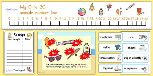 Adding at the Beach Shop PowerPoint Task Setter - australia, adding, beach, shop, powerpoint