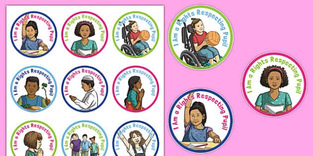 Rights Respecting Schools Badges - UN Convention, children's rights, rights of the child, respect, rights, reward, award, stickers, Health and Wellbeing, PSHE, UN Charter