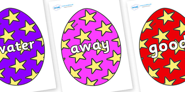 Next 200 Common Words on Easter Eggs (Stars) - Next 200 Common Words on  - DfES Letters and Sounds, Letters and Sounds, Letters and sounds words, Common words, 200 common words