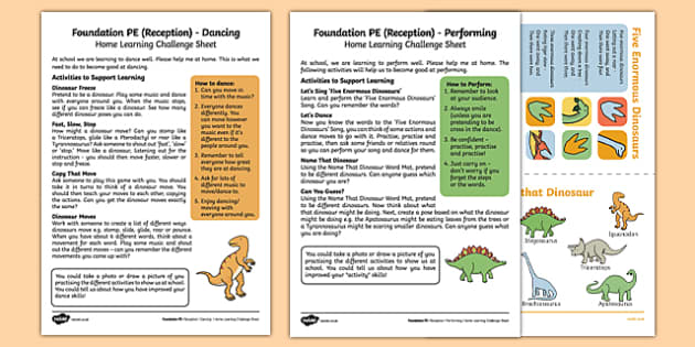 Foundation PE (Reception) - Dance - Dinosaurs Home Learning Challenge Sheets Pack - EYFS, PE, Physical Development, Planning