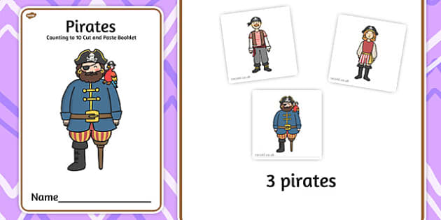 Pirates Counting to 10 Cut and Paste Booklet - count, cutting