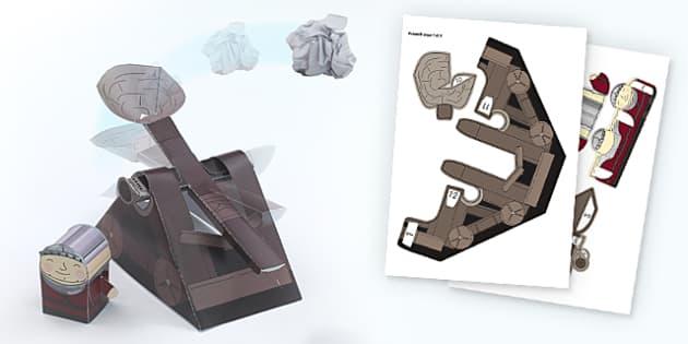 Catapult Paper Craft Template - crafts, paper crafts, design