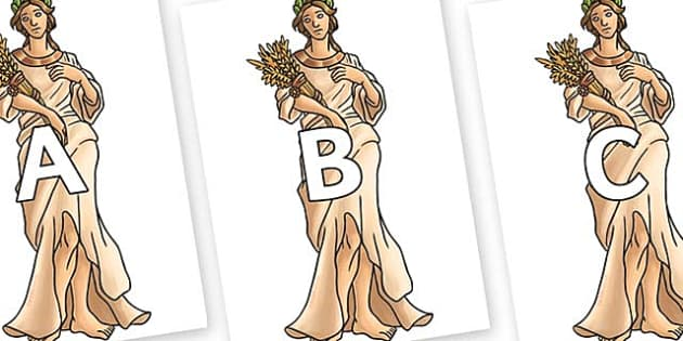 A-Z Alphabet on Demeter - A-Z, A4, display, Alphabet frieze, Display letters, Letter posters, A-Z letters, Alphabet flashcards