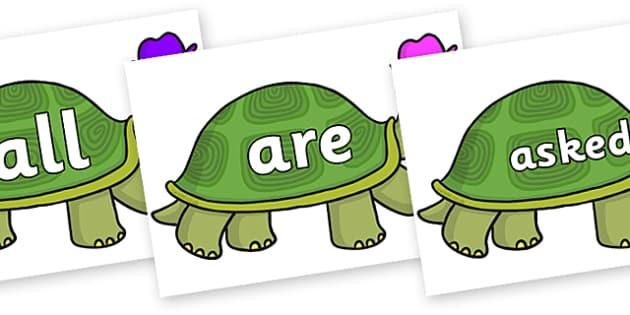 Tricky Words on Tortoise - Tricky words, DfES Letters and Sounds, Letters and sounds, display, words
