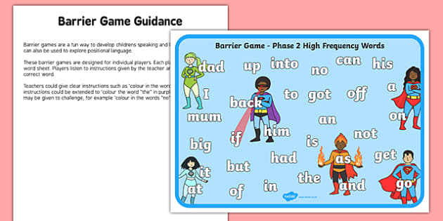 Phase 2 High Frequency Words Barrier Game Activity Sheet, worksheet