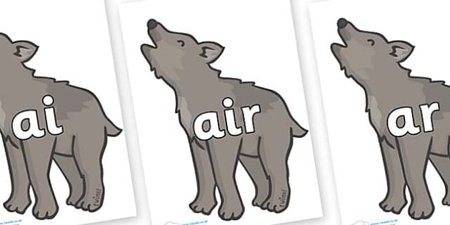 Phase 3 Phonemes on Wolf Cubs - Phonemes, phoneme, Phase 3, Phase three, Foundation, Literacy, Letters and Sounds, DfES, display