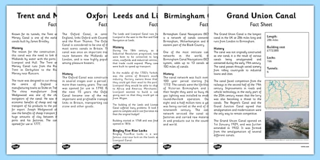 Canals of England Fact Sheet Pack - canals of england, canals, england, english, ks2, resource pack, pack, fact sheet