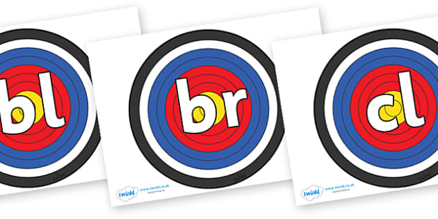 Initial Letter Blends on Archery Targets - Initial Letters, initial letter, letter blend, letter blends, consonant, consonants, digraph, trigraph, literacy, alphabet, letters, foundation stage literacy