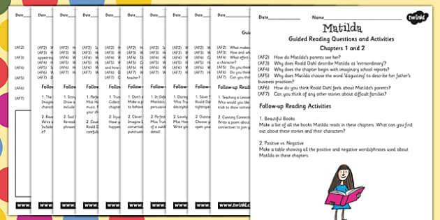 Guided Reading Sheets for Teachers to Support Teaching on Matilda - read, book, stories