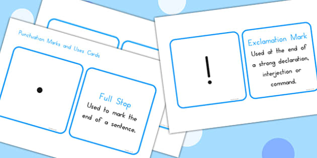 Punctuation Marks And Explanation Matching Cards - match, explain