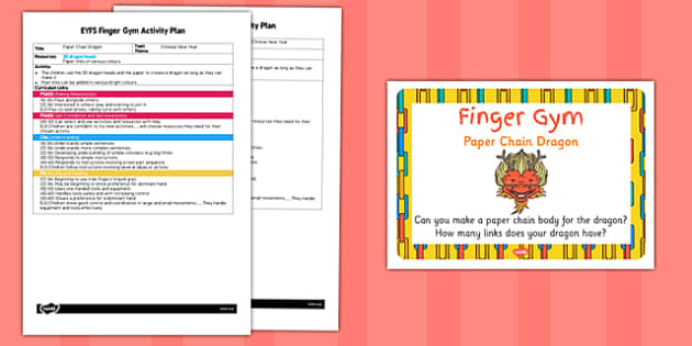 EYFS Paper Chain Dragon Finger Gym Activity Plan and Prompt Card Pack